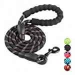 5 FT Strong Dog Leash with Comfortable Padded Handle, Highly Reflective Threads Durable Dog Leash for Puppies Small Medium and Large Dogs (Black)