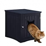 Cat House Side Table, Nightstand Pet House, Litter Box Furniture Indoor Pet Crate Litter Box End Table, Litter Box Enclosure, (Black)