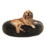 PUPPBUDD Calming Dog Bed Cat Bed Donut, Faux Fur Pet Bed Self-Warming Donut Cuddler, Comfortable Round Plush Dog Beds for Large Medium Dogs and Cats (24″/32″/36″/44″)