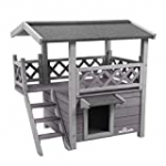 Aivituvin Wooden Cat House Outdoor and Indoor,Feral Pet Houses with Stairs for Cats Insulated, Weatherproof Roof