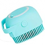 Pet Grooming Brush Bath Brush with Shampoo Container for Dog Cat Bathing Grooming Pet Scrubber Soft Rubber Silicone Massage Brushes Comb Bathing Tool