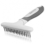 DWCCF Dog rake desheding demanding Brush Comb – Undercoat rake for Dogs, Cats, Short or Long Hair Coats – Brush for Shedding, Double Row of Stainless Steel pins – Reduce Shedding by 90%