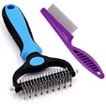 Dematting Tool, 2 Sided Undercoat Rake, Grooming Comb to Remove Tangles and Knots for Long or Medium Haired Dogs and Cats
