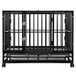 SmithBuilt 36″ Medium Heavy-Duty Dog Crate Cage – Two-Door Indoor Outdoor Pet & Animal Kennel with Tray – Black