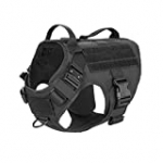ICEFANG Tactical Dog Harness 2X Handle,Working Dog MOLLE Vest ,No Pulling Front Leash Clip,Hook and Loop for Dog Patch (L (Neck:18″-24″ ; Chest:28″-35″ ), Black)