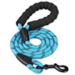 HIKISS 5 FT Strong Dog Leash, Rope Leash with Comfortable Padded Handle and Highly Reflective Threads Durable Dog Leashes for Medium and Large Dogs-Blue(18-120 lbs)