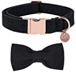 DOGWONG Cotton Dog Collar with Bow Black Pet Collar Durable Adjustable for Small Medium Large Dogs