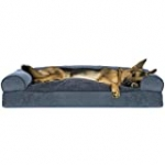 Furhaven Pillow Pet Bed for Dogs and Cats – Sofa-Style Sherpa and Chenille Couch Dog Bed with Removable Washable Cover, Orion Blue, Jumbo (X-Large)