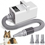 Clawsable LED Intelligent Touch Screen Dog Dryer Blower, 3.2HP High Velocity Professional Dog Hair Dryer with Precise Temperature Control System, Dog Blow Dryer with 3 Nozzles and Shower Massage Glove