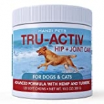 Hanzi Pets All New Formula Hip & Joint Care for Dogs Cats   Improves Mobility & Hip Dysplasia   Glucosamine, MSM, Chondroitin, Turmeric, Hemp   cGMP Certified   Made in USA   120 Savory Soft Chews