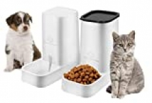 Dog or Cat Automatic Feeder Water Dispenser Set, Food Bowl Cat Food Container for Small, Medium and Large Cats and Dogs Food and Water Distribution(2 PCS)