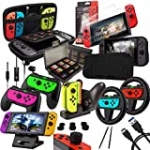 Switch Accessories Bundle – Orzly Geek Pack for Nintendo Switch: Case & Screen Protector, Joycon Grips & Racing Wheels, Switch Controller Charge Dock, Comfort Grip Case & More – JetBlack
