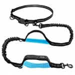 UPPETLY Hands Free Dog Running Leash with Adjustable Waist Belt, Dual Handle Elastic Bungees Retractable Rope for Medium and Large Dogs, Reflective Stitches for Walking Hiking Biking