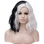 Mildiso Black White Wigs for Cruella Women 14'' Short Bob Wavy Soft Hair Wig, Cute Wigs for Party Cosplay with Comfortable Wig Cap M058C