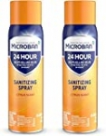 Microban Disinfectant Spray, 24 Hour Sanitizing and Antibacterial Spray, Sanitizing Spray, Citrus Scent, 2 Count, 15 fl oz Each