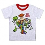 Disney Boy's Toy Story Tee Shirt Set with Woody, Buzz Lightyear and Rex Front to Back Print, Grey, Size 2T