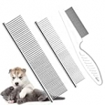 TanDraji Pet Dog Grooming Combs, Metal Cat Combs and Tear Stain Remover Comb with Rounded Teeth for Removing Tangles and Knots for Long and Short Haired Dogs and Cats(3 Pack)