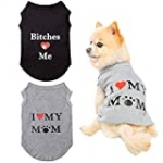Dog T Shirts Pet Summer Vests I Love My Mom Dog Clothes with Fashion Printing 2 Pack