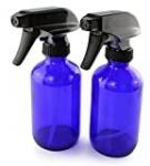 Cornucopia 8-Ounce Cobalt Blue Glass Boston Round Spray Bottles (2 Pack) 3-Setting Heavy Duty Sprayers, Empty Refillable Bottle for Essential Oil Blends, DIY Cleaning & More