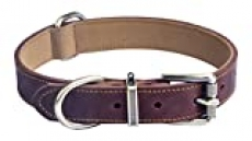 Jatinoo Basic Classic Genuine Leather Dog Collar Buckle Soft Martingale Dog Collar for Small, Medium, Large and XL Dogs|Wide and Thick (Brown, M)