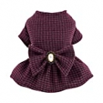 Fitwarm Vintage Plaid Dog Dress with Bowknot Faux Woolen Thermal Doggie Sweatshirt Pet Winter Clothes Puppy Girl One-Piece Doggy Gown Dresses Cat Outfits Apparel Rose Red Medium