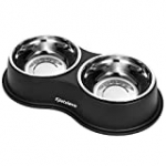 Dog Bowls Double Dog Water and Food Bowls Stainless Steel Bowls with Non-Slip Resin Station, Pet Feeder Bowls for Puppy Medium Dogs Cats