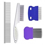 Set of 4 Pets Grooming Comb Kit for Puppies and Small Cats,Tear Stain Remover Combs,Pet Grooming Lice Comb,Perfect for Finishing and Fluffing,Round Teeth Combs