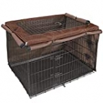 Explore Land Dog Crate Cover for 42 Inches Wire Cage, Heavy-Duty Lattice Pet Kennel Covers Compatible with 1 2 3 Doors Standard Metal Crate(Brown)