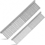 ORIEMARS Metal Dog Combs for Grooming Large and Small Dogs, Stainless Steel Cat Combs with Rounded Teeth for Dogs Cats and Other Pets Removing Tangles and Knots.