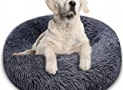 """BITIANTEAM Dog Bed Comfortable Cat Bed Cuddler Round Dog Pillow Bed Nest Anti-Slip Faux Fur Ultra Soft Washable Pet Cushion Bed for Dog Cat Joint-Relief Improved Sleep Dark Gray (28"""" x 28"""")"""