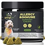 Googipet Dog Allergy Relief Chews – Allergy Medication for Dog Itch Relief , Alaskan Salmon Fish Oil for Dogs, Dog Probiotic & Colostrum Immunity, Skin Hot Spot Treatment Dog for Seasonal Allergies