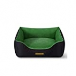 MMAWN Pet Dog Bed | Orthopedic Plush Faux Fur Sofa-Style Living Room Couch Pet Bed for Dogs – Dark Green (Size : M)