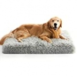 MIHIKK Large Dog Bed for Large Dogs, Orthopedic Egg-Crate Foam Dog Beds with Removable Washable Cover and Waterproof Lining, Non-Slip Bottom Dog Bed for Crate (35 x 22 x 3 Inch, Grey)