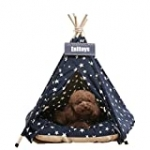 Pet Teepee Dog & Cat Bed with Cushion- Portable Luxery Pet Tents & Houses with Cushion & Blackboard (Star)