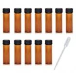 12 Pack Set Brown Screw Cap Glass Bottle Small Mini Empty Oil Amber Vial