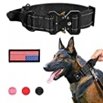 Whippy Wide Military Dog Collar with Control Handle Adjustable Quickly Release Metal Buckle Nylon K9 Dog Collar Heavy Duty Training Reflective Collar with USA Flag for Medium Large Dog Pet,Black,L