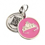 PetDwelling 2D Pink Tiara QR Code Pet ID Tag Links to Online Profile/Emergency Contact/Medical Info/Google Map Location Stamp
