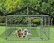 Kullavik Dog Kennel Outdoor with Heavy Duty Galvanized Chain Link Dog Cage Chicken Coop Hen House, UV & Water Resistant Black Proof Cover (W85D85H60)