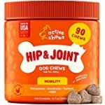 Active Chews Glucosamine for Dogs Hip and Joint Supplement | Dog Joint Supplement with Chondroitin, MSM & Turmeric |Soft Chews Supports Joint Mobility, Cartilage & Enhances Immune Response (90ct)