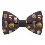 Fast food bow tie, coke, coffee, donuts, hot-dog food pattern, by Bow Tie House (Medium, Fast Food)