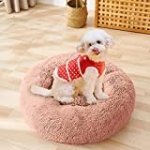 Tiheary Dog Bed Round Fluffy Cat Bed Anxiety Calming Donut Cuddler Anti-Slip Pet Bed Pink S(23″x23″)