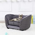 Pet Sofa Bed, Velvet Couch with Washable Cushion for Small Dog Cat, Gray (Gray)