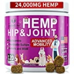 Hip and Joint Supplement for Dogs – 120 Soft Chews with HEMP Oil & HEMP Powder, Glucosamine, Chondroitin, MSM, Turmeric, Premium Dog Glucosamine for Pet Mobility Support and Inflammation Relief