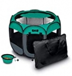 Ruff 'n Ruffus Portable Foldable Pet Playpen + Free Carrying Case + Free Travel Bowl   Available in 3 Sizes Indoor/Outdoor Water-Resistant Removable Shade Cover