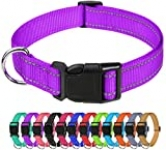 TagME Reflective Nylon Dog Collars, Adjustable Classic Dog Collar with Quick Release Buckle for Medium Dogs, Purple, 1.0″ Width