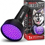GearLight UV Black Light Flashlight XR98 – Powerful Patented 100 LED Blacklight Flashlights, Pet Stain Detector for Dog Urine, Scorpions, and Bed Bugs – Works with Carpet Odor Eliminator and Remover