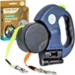 Troop Trot – Double Dog Leash – Retractable, Tangle Free Design – Dual Dog Leash for Small Dogs – 50 lb per Dog – 10 ft Dog Leash w/ Full Nylon Leads – Dog Leash with Light & Bag Dispenser