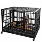 Lemberi Heavy Duty Dog Crate cage,48 inch Extra Large Dog Crate Kennel,Indestructible high Anxiety Dog Crate,Easy to Assemble, XXL Large Dog Crate for Outdoor and Indoor with Removable Tray