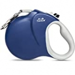 TwoEar 26ft Retractable Dog Leash, Strong Reflective Nylon Tape, Heavy Duty 360°Tangle-Free Dog Walking Leash, Easy One Button Brake, for Medium/Large Dogs Breed up to 110lbs, Blue