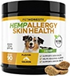 PetHonesty Hemp Allergy SkinHealth Supplement for Dogs – Fish Oil Omega 3s, All-Natural Soothing Snacks with Hemp Oil – Promotes Calming for Dogs, Probiotics for Shiny Coats, Reduce Shedding/Hotspots